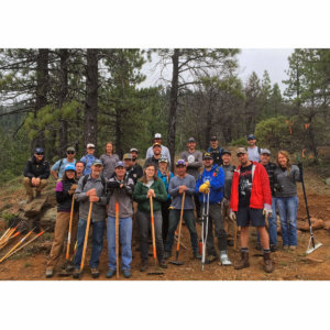 Trail work volunteers group