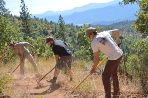 Trail volunteers digging trail