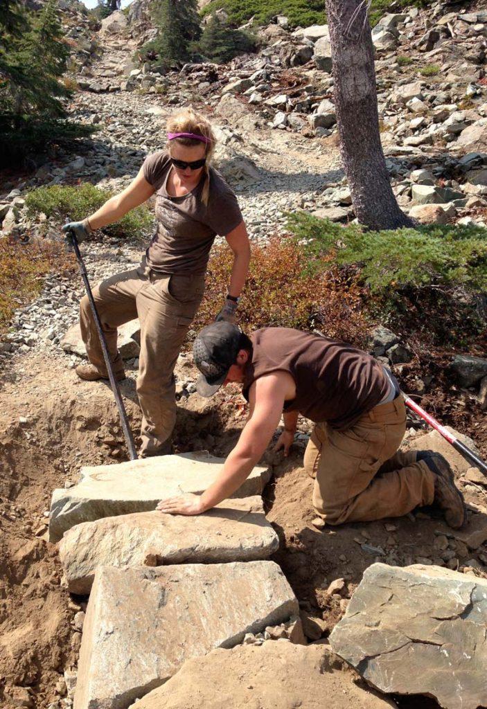 Trail crew armoring trail
