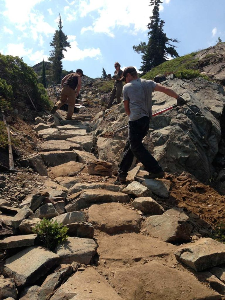 Building trail in Lakes Basin