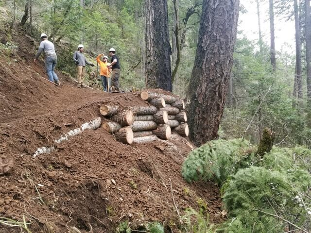 Crib build trailwork Halls Ranch Trail
