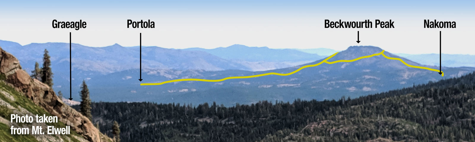 Beckwourth Peak Trail diagram on photo of Beckwourth Peak