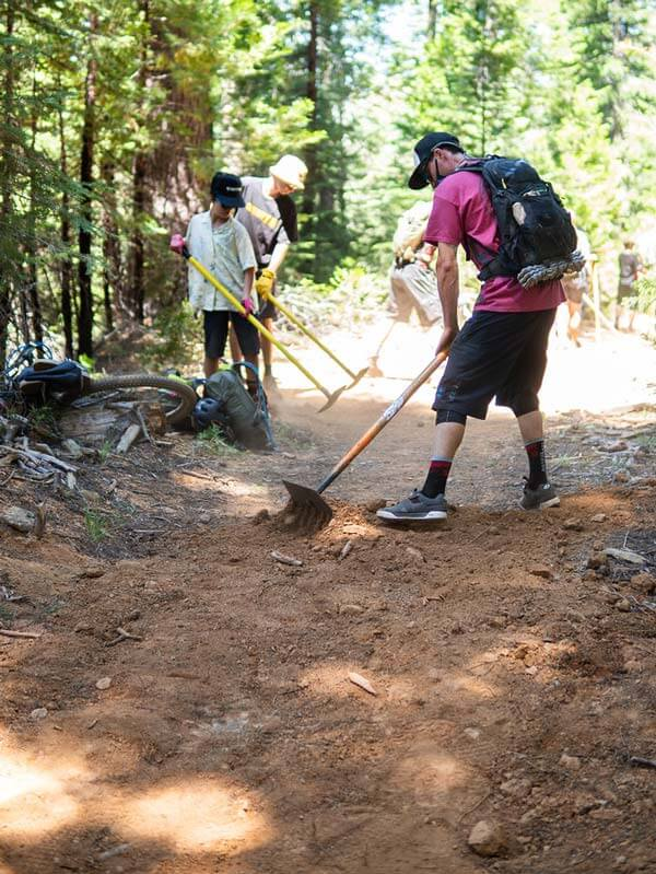 Kids digging trail