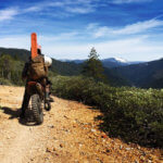 Motorcycle rider on trail
