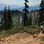 Mountain bike racer on Sierra summit