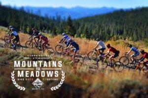 Mountains to Meadows logo over photo of bike racers climbing mountains