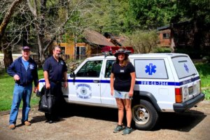 Delivering facemasks to Downieville Fire department