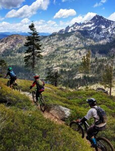 Mountain biking with the Sierra Buttes in the background