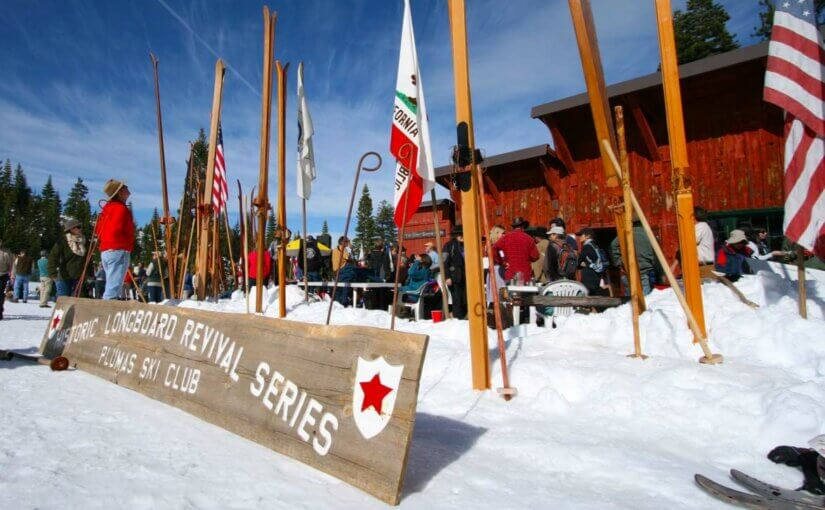 Longboard skis in the snow and sign: Historic Longboard Revival Series