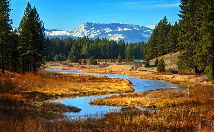Portola in winter, Middle Fork of the Feather River with snowy mountains