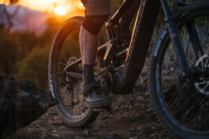 ebike and sunset in mountains