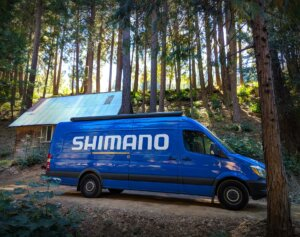 Shimano van in the forest