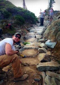 Trailcrew buiding armored steps