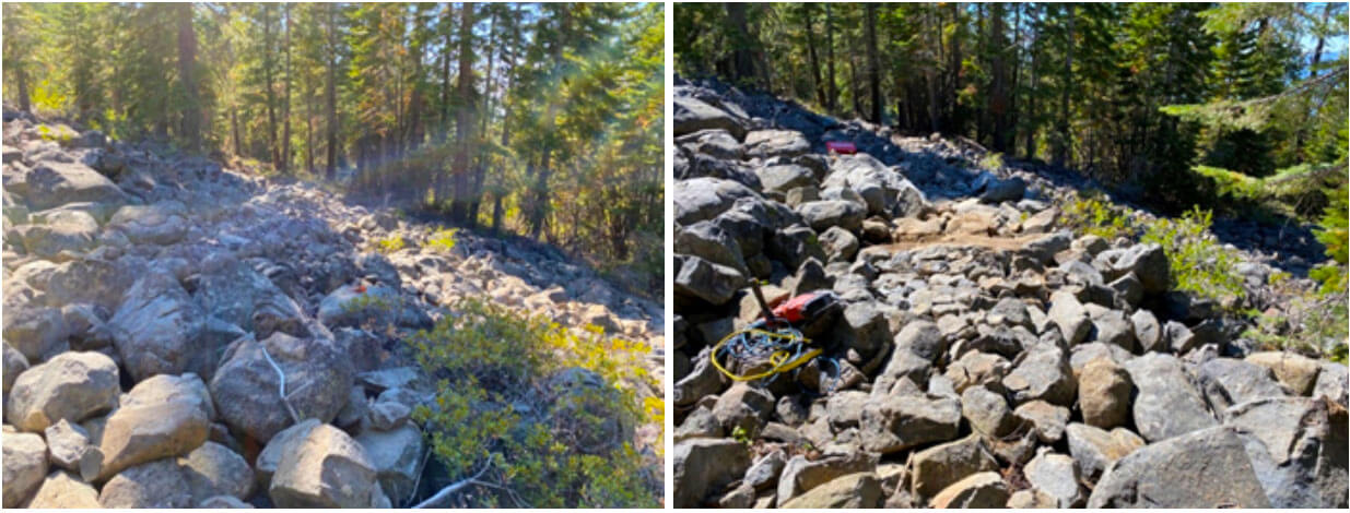 Before and After Photos of Beckwourth Peak Trail construction this month